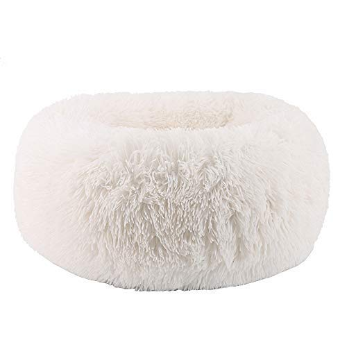 Comfortable Donut Cuddler Round Dog Bed-Dog beds-petsoftcare-White-M Large 60cm-petsoftcare