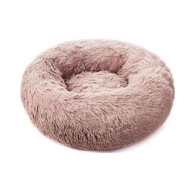 Comfortable Donut Cuddler Round Dog Bed-Dog beds-petsoftcare-Light Coffee-XXL Large 90cm-petsoftcare