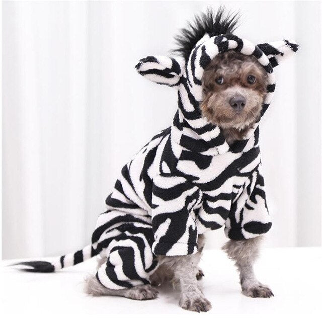 Dog Costume Halloween Costplay lion coral fleece Warm Clothes-Dog apparel-petsoftcare-black white horse-XS-petsoftcare