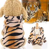 Dog Costume Halloween Costplay lion coral fleece Warm Clothes-Dog apparel-petsoftcare-tiger-XL-petsoftcare