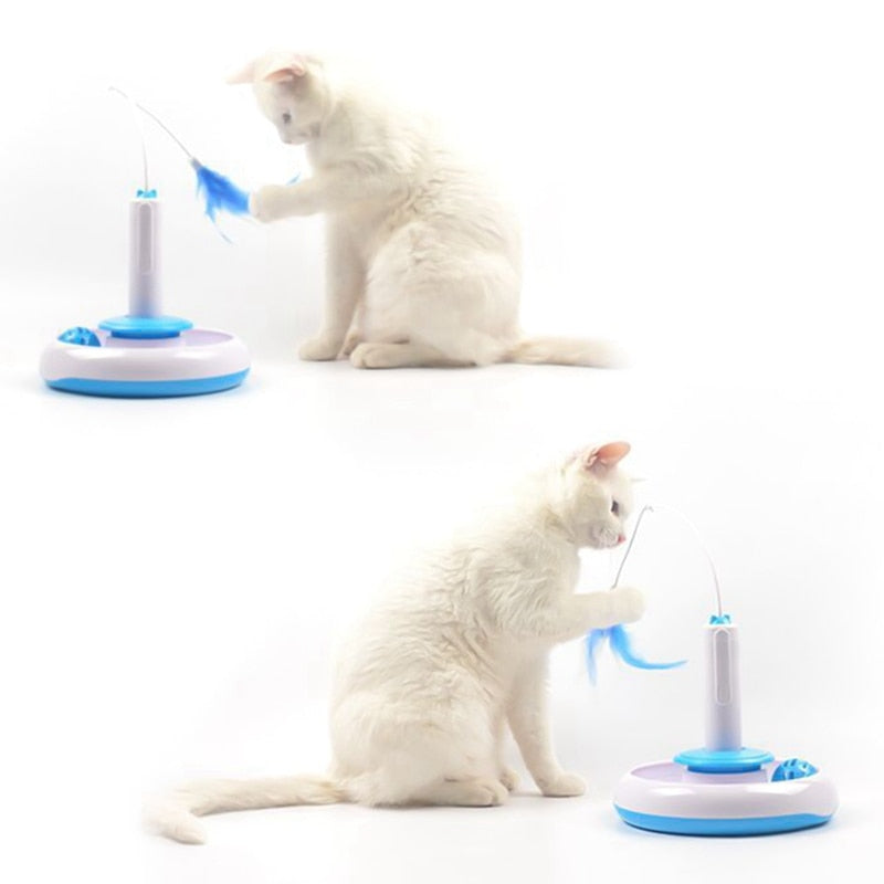 Electric Rotation 360 Degrees Automatic Feather Interaction Funny Cat Stick-Cat toys-petsoftcare-petsoftcare