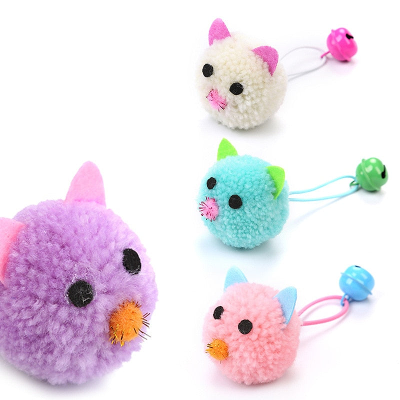 Plush Mouse Head Shape Bells Toys For Cats-Cat toys-petsoftcare-petsoftcare