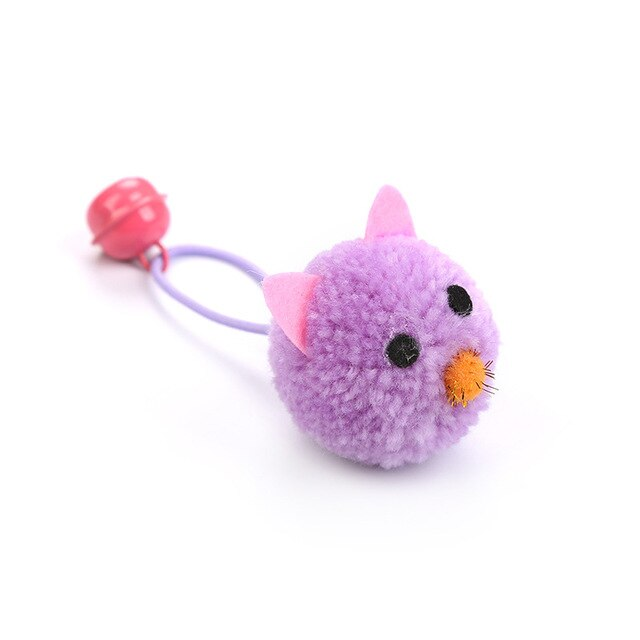 Plush Mouse Head Shape Bells Toys For Cats-Cat toys-petsoftcare-5pcs Purple-France-petsoftcare