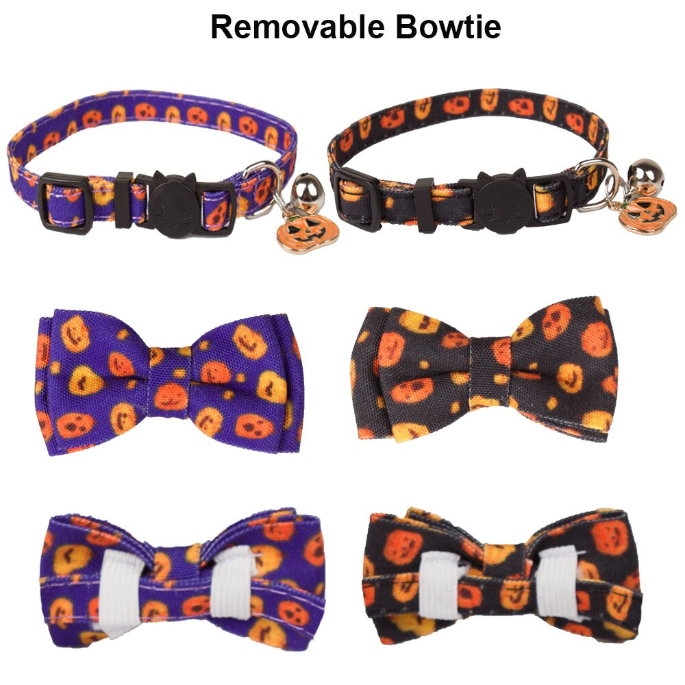 Halloween Dog Cat Collar Breakaway with Bowtie Bell-Collars, Harnesses & Leashes-petsoftcare-petsoftcare