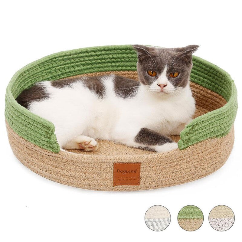 Hand Craft Cat Bed House Nature Cotton Rope-Cat bed-petsoftcare-petsoftcare
