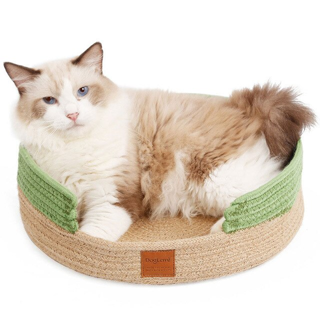 Hand Craft Cat Bed House Nature Cotton Rope-Cat bed-petsoftcare-Green-petsoftcare