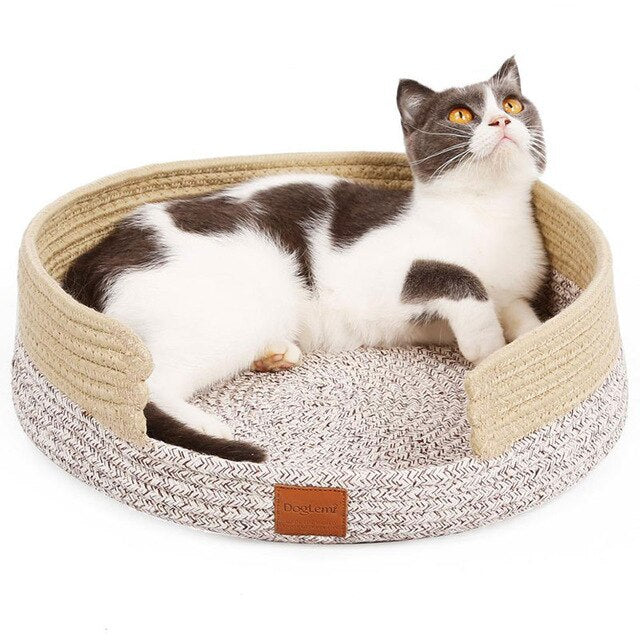 Hand Craft Cat Bed House Nature Cotton Rope-Cat bed-petsoftcare-Beige-petsoftcare