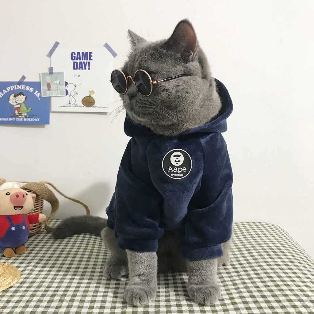 Fleece Hooded Hairball Coat Jacket WinterSoft Pet Clothes-Cat apparel-petsoftcare-petsoftcare