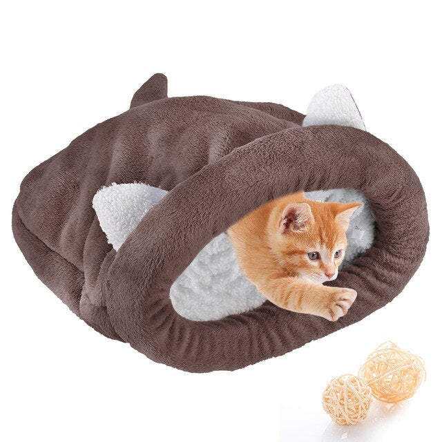 Warm Cozy Premium Coral Fleece Cat Bed-Cat bed-petsoftcare-Coffee-M-petsoftcare