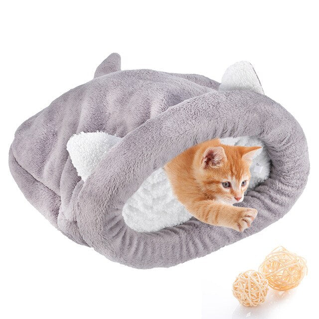 Warm Cozy Premium Coral Fleece Cat Bed-Cat bed-petsoftcare-Gray-M-petsoftcare