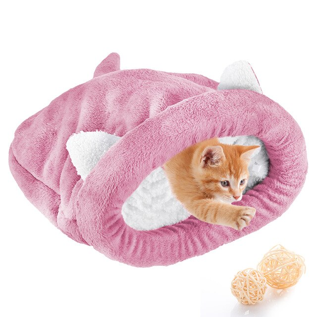 Warm Cozy Premium Coral Fleece Cat Bed-Cat bed-petsoftcare-Pink-M-petsoftcare