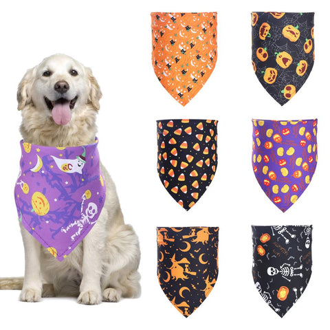 Halloween Pumpkin Ghost Dog Scarf Washable