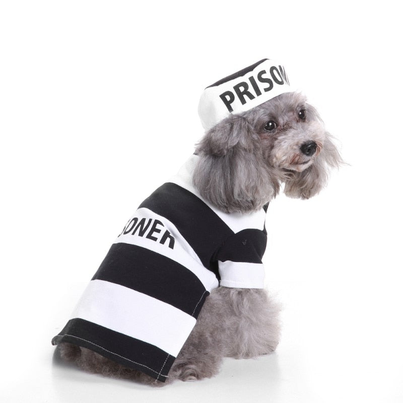 Halloween Dogs Clothes Set With Hat Striped Prison Uniform-Halloween shop-petsoftcare-petsoftcare