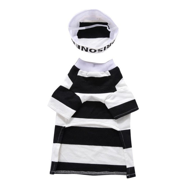 Halloween Dogs Clothes Set With Hat Striped Prison Uniform-Halloween shop-petsoftcare-Black-L-petsoftcare