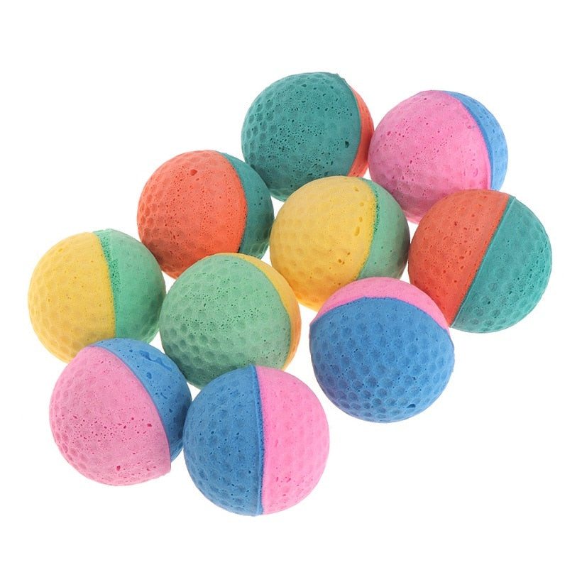 10 Pcs Pet Toy Latex Balls Colorful Chew For Dogs Cats-Cat toys-petsoftcare-petsoftcare