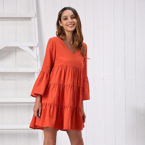 Robe bohème hippie orange