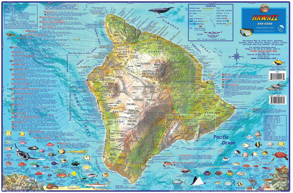 "Hawaii ""Big Island"" Dive Map - Frankos Maps"