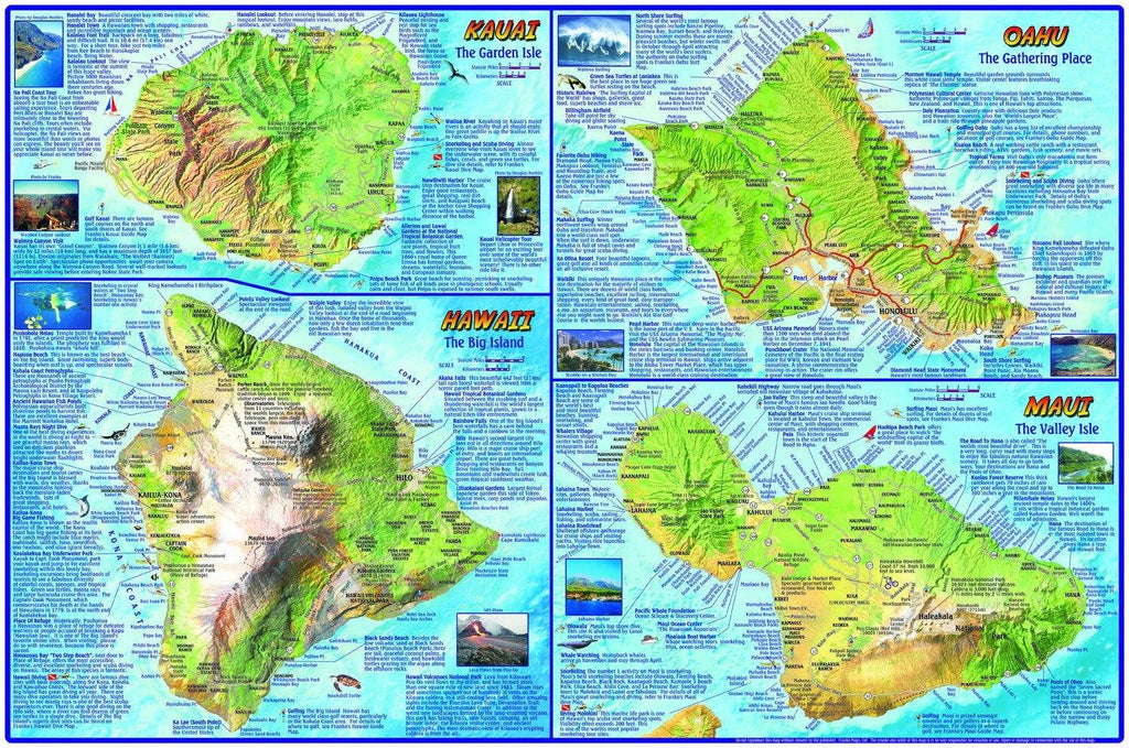 Hawaiian Islands Adventure Guide Map - Frankos Maps