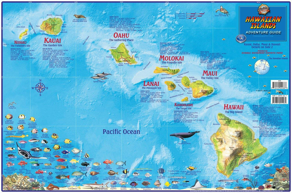 Hawaii Map Poster - Hawaiian Islands Adventure Guide Laminated Poster - Frankos Maps
