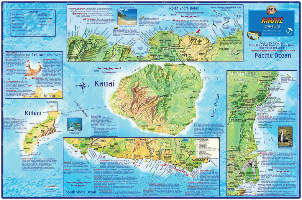 Kauai Dive Map - Frankos Maps