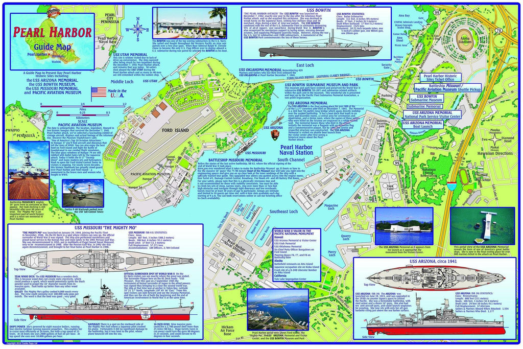 Map of historic Pearl Harbor, Hawaii