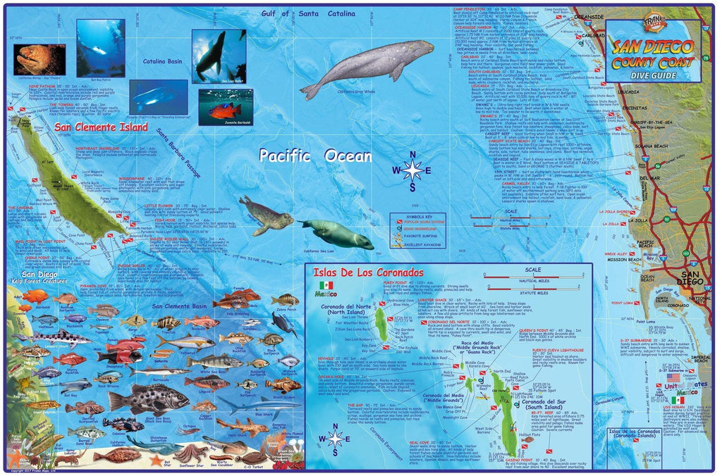 San Diego County Coast Dive Map - Frankos Maps
