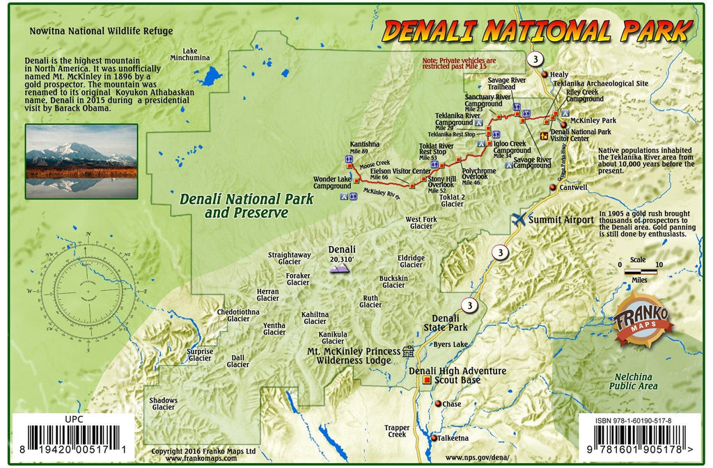 Denali National Park Guide Card - Frankos Maps