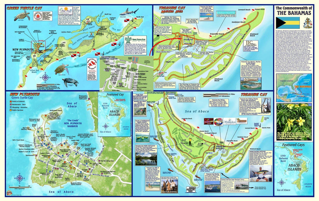 Great Abaco Island, The Bahamas, Adventure Guide Map - Frankos Maps