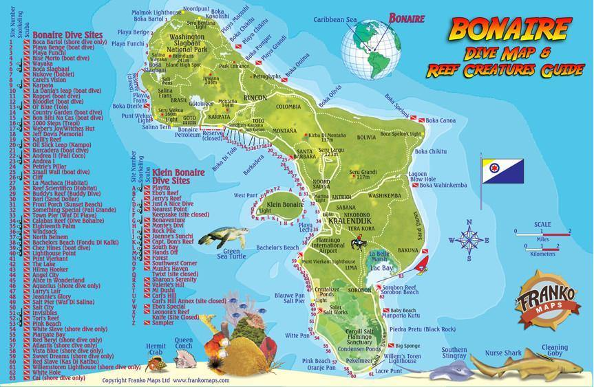 Franko Maps Bonaire mini Dive Map