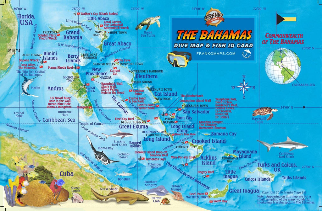 Bahamas Fish Card - Frankos Maps