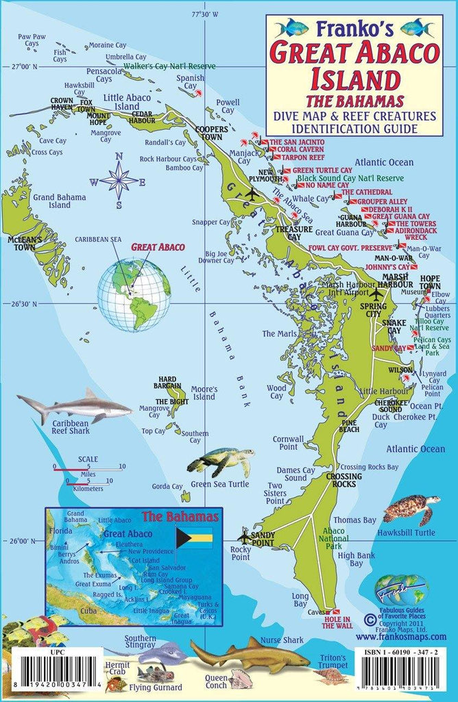 Great Abaco Island, The Bahamas, Fish Card - Frankos Maps