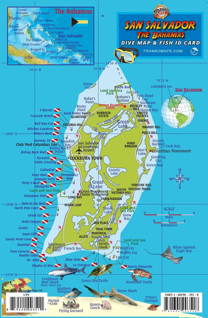 San Salvador Island, The Bahamas, Fish Card - Frankos Maps