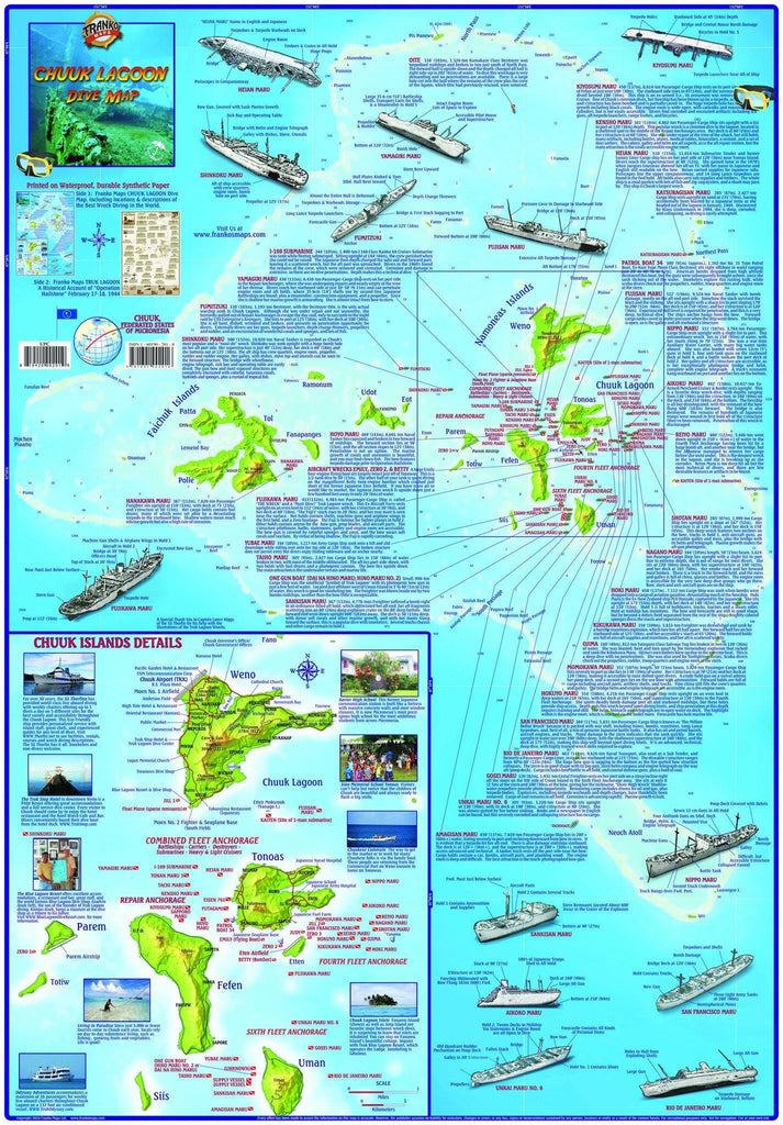 Chuuk (Truk) Lagoon Dive Guide & Operation Hailstone History Map - Frankos Maps