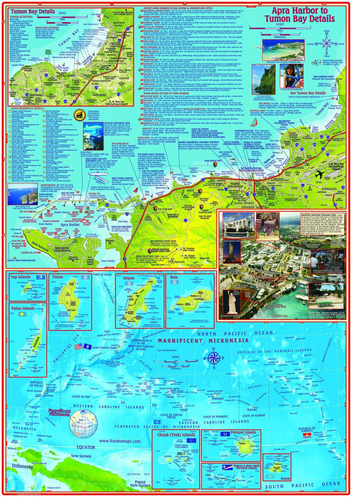 Guam Adventure & Dive Guide Map Laminated Poster - Frankos Maps