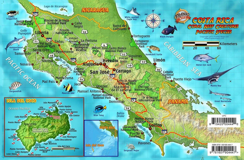 Costa Rica Pacific Fish Card - Frankos Maps