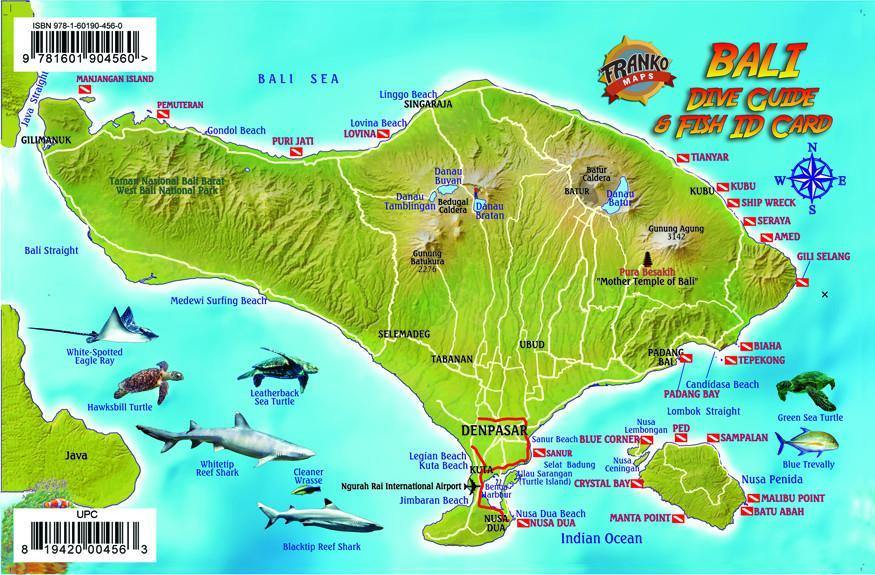 Map of Bali, Indonesia from Franko Maps