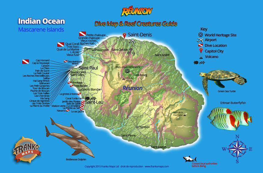 Reunion Island Fish Card - Frankos Maps