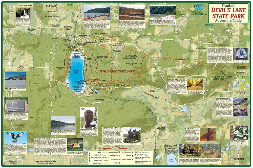 Franko Maps Devil's Lake State Park Adventure Guide