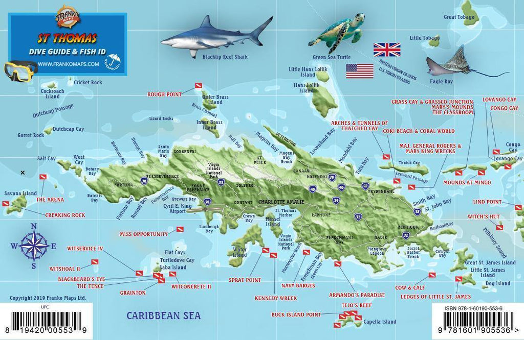 St. Thomas USVI Fish Card - Frankos Maps