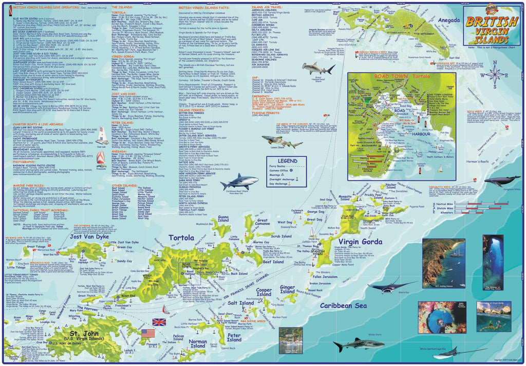 British Virgin Islands BVI Dive & Guide Map Laminated Poster - Frankos Maps