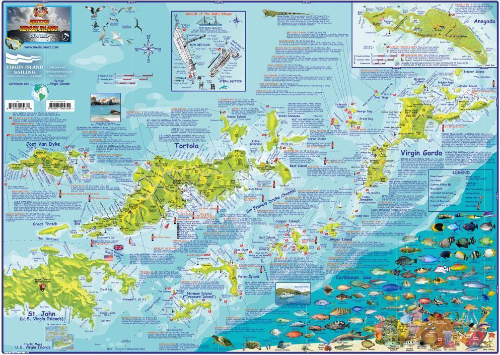 British Virgin Islands BVI Dive Map - Frankos Maps