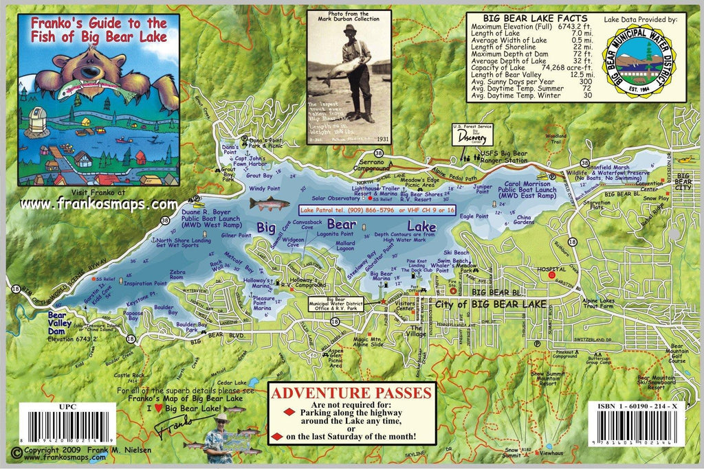 Big Bear Lake Fish Card - Frankos Maps