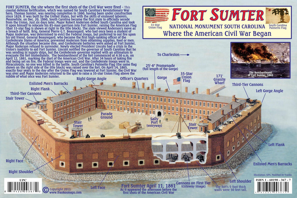 Fort Sumter / H.L. Hunley Guide Card - Frankos Maps