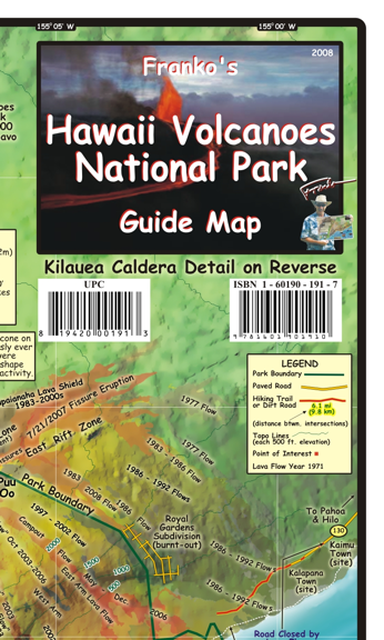 Hawaii Volcanoes National Park Guide Map - Frankos Maps