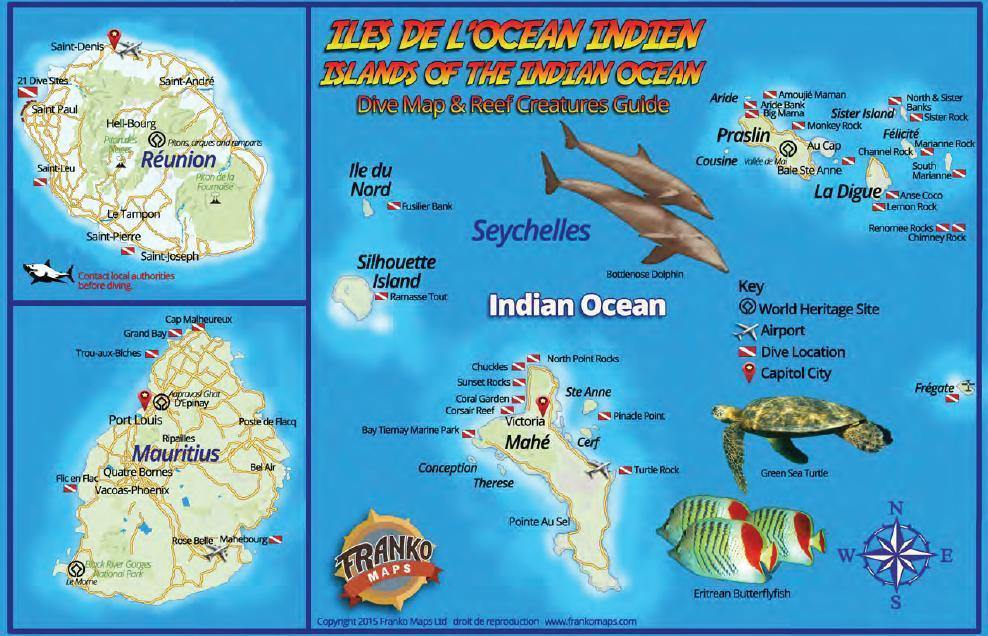 Indian Ocean Islands Fish Card - Frankos Maps