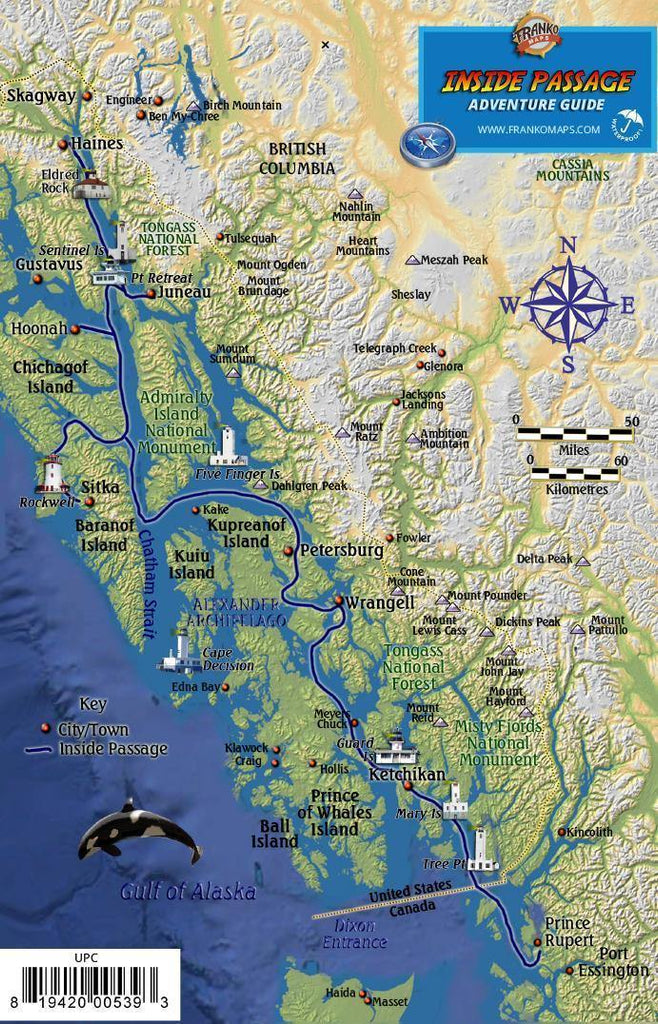Alaska Inside Passage Guide Card - Frankos Maps