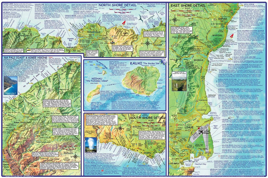 Kauai Adventure Guide Map Laminated Poster - Frankos Maps