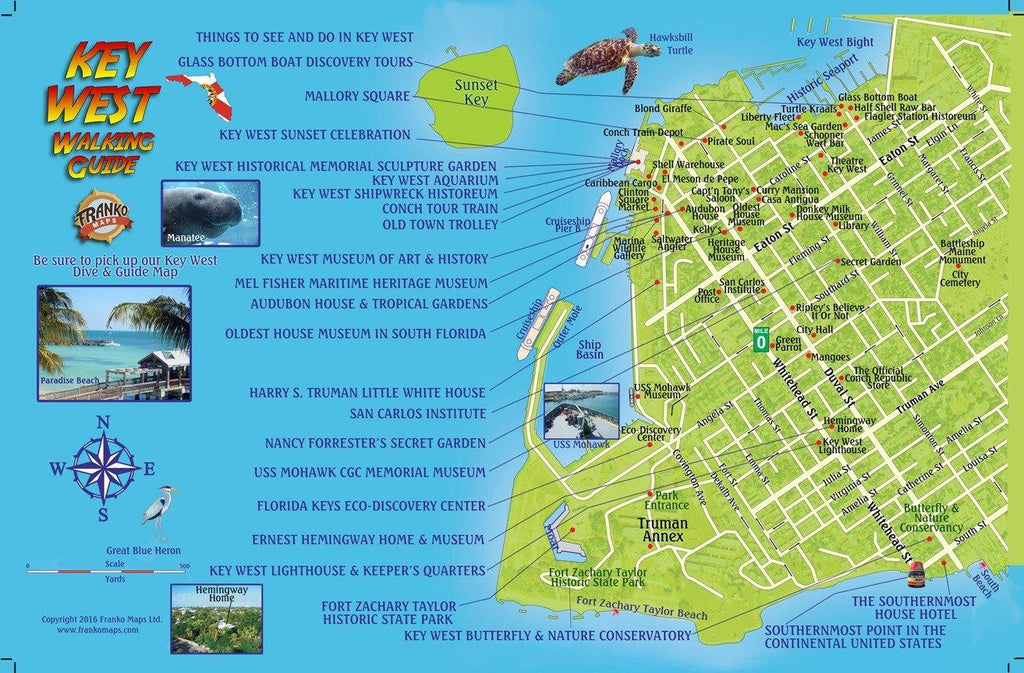 Key West Walking Guide Card - Frankos Maps