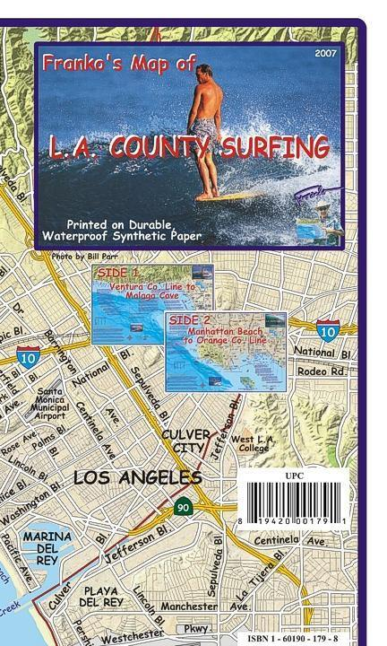 Los Angeles County Surfing Map - Frankos Maps
