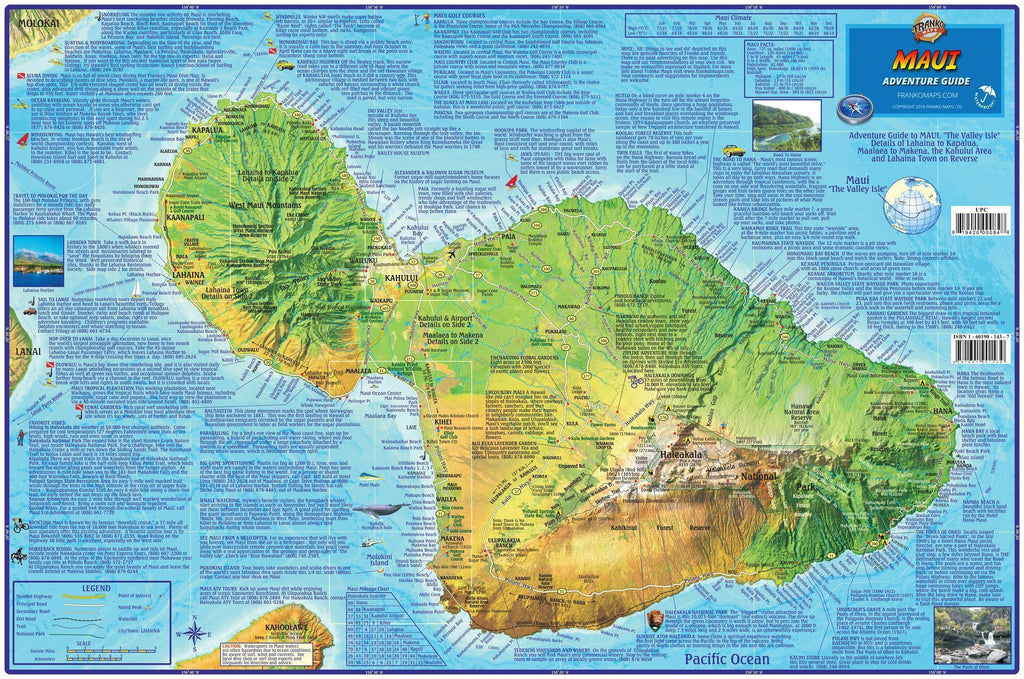 Maui Adventure Guide Map Laminated Poster - Frankos Maps